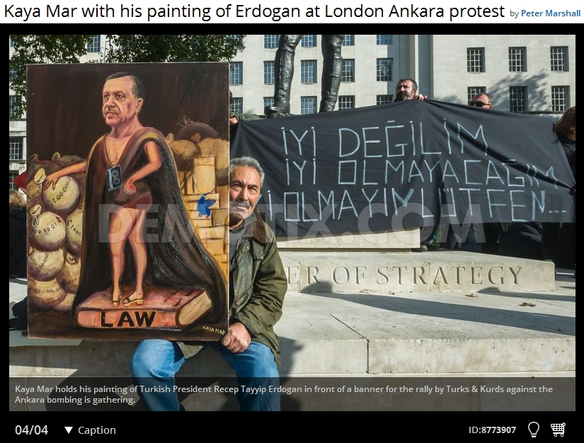 Peter Marshall's photo of Kaya at the London protest against the Ankara bombings