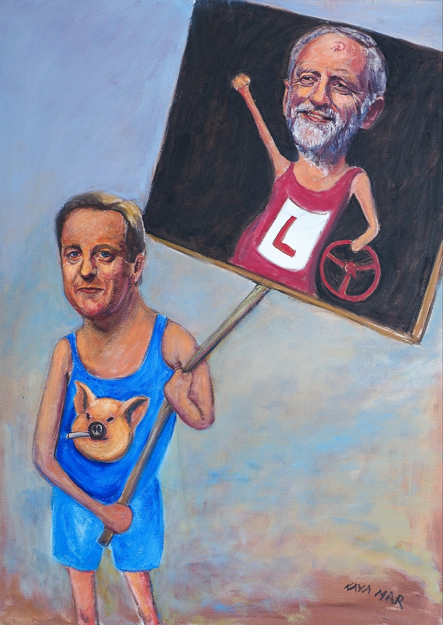 """David Cameron - #PigGate: Snatching Defeat from the Jaws of Victory"" 76 x 102 cms, oil on canvas"