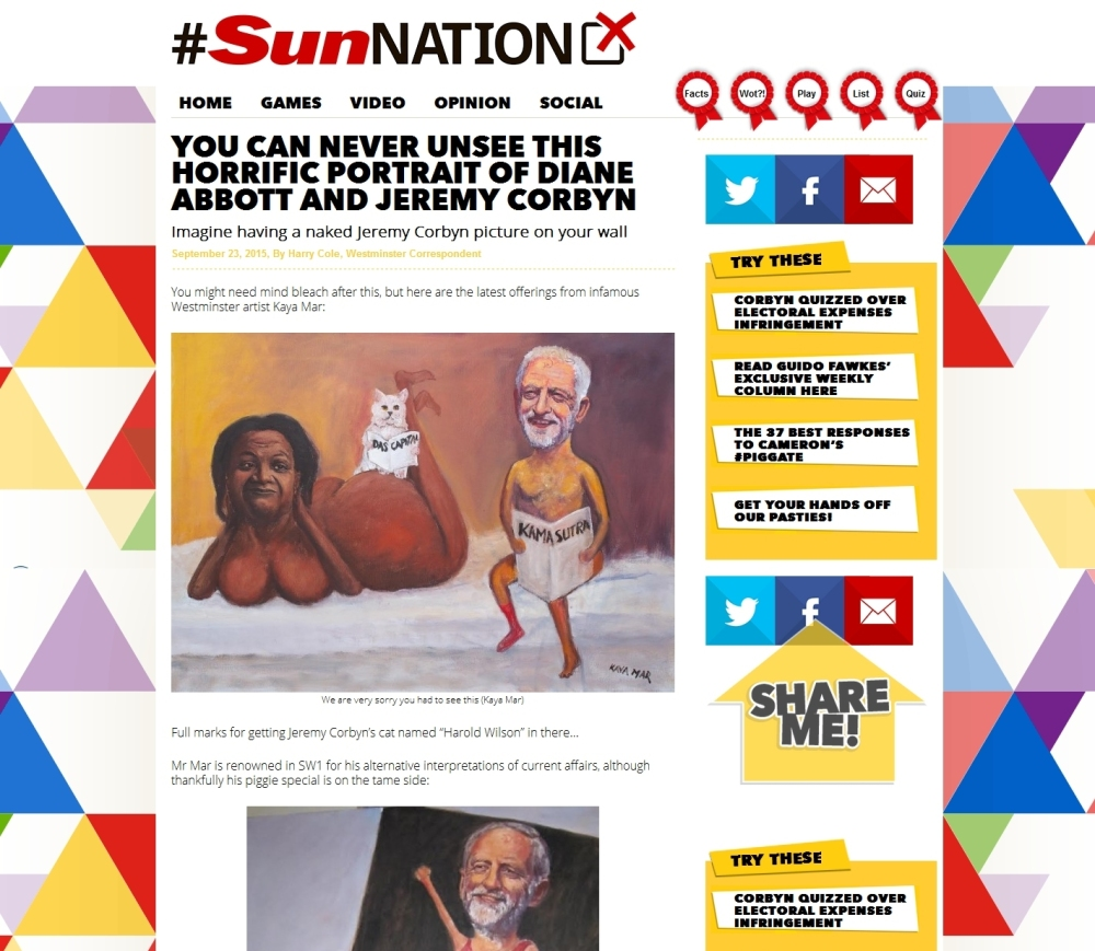 #SunNation article published Sept 23rd 2015 Article URL: http://www.sunnation.co.uk/you-cant-unsee-this-portrait-of-corbyn-and-abbott/