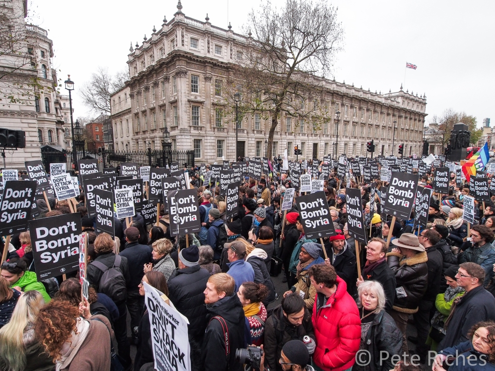 Thousands protest at Downing Street against planned airstrikes in Syria