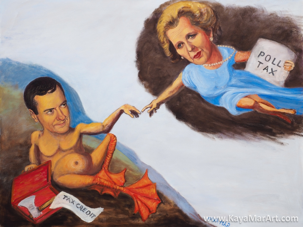 "Kaya Mar's ""The Birth of Gideon"" Margaret Thatcher and her failed Poll Tax policy giving the spark of life to George Osborne and his failed Tax Credit policy."