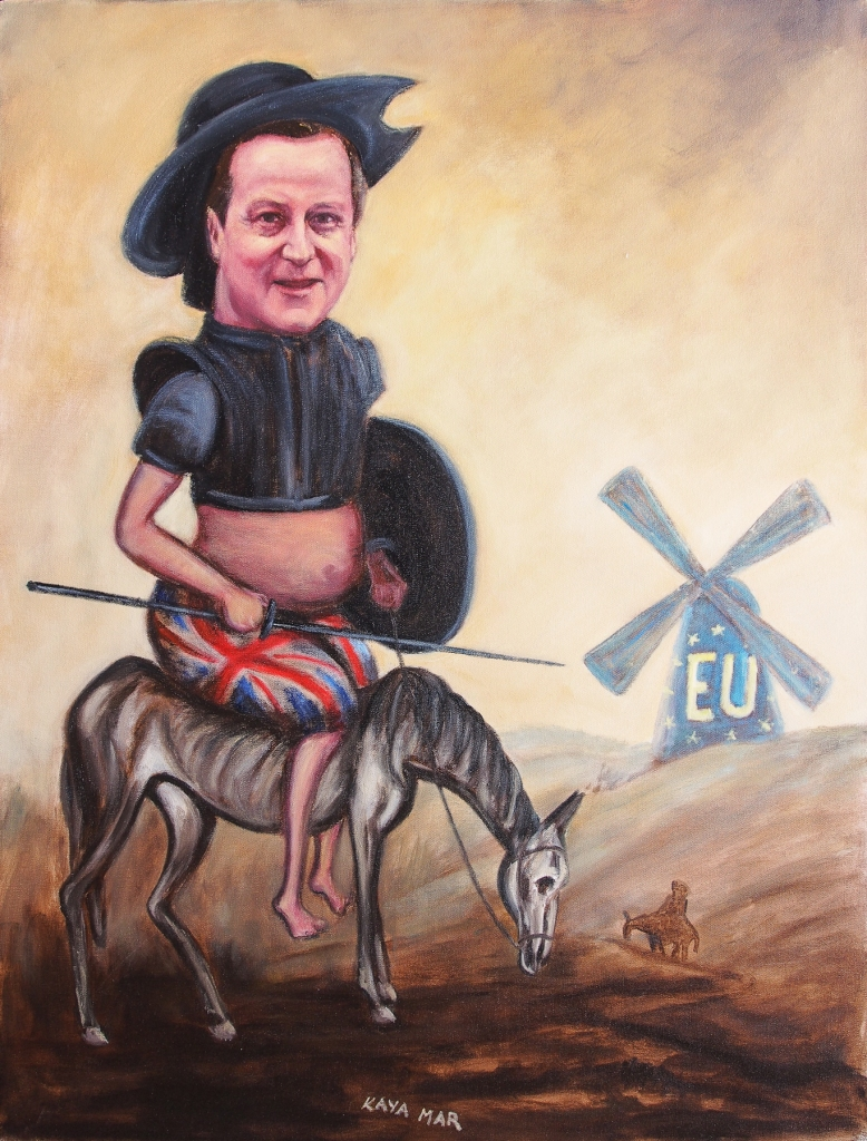 """David Cameron - Tilting at Europe's Windmills"" : 106 x 76cms oil on canvas"